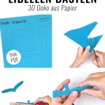 3d Libellen Basteln Aus Papier Mit Bastelvorlage Papershape
