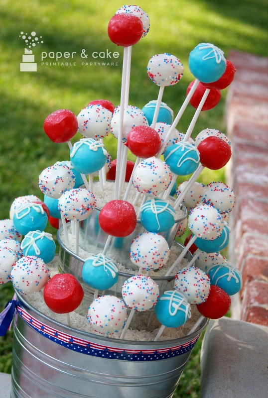Fourth of July Cake Pop Stand from Paper & Cake