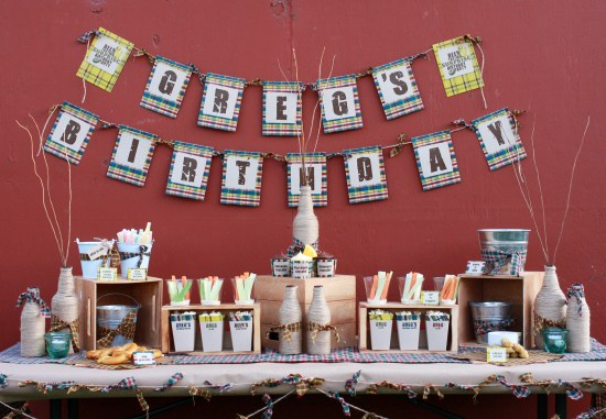 Plaid Flannel beer tasting printable party deocrations