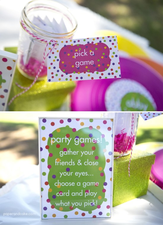 Paper and Cake Printable colorful polkda dot birthday party party games
