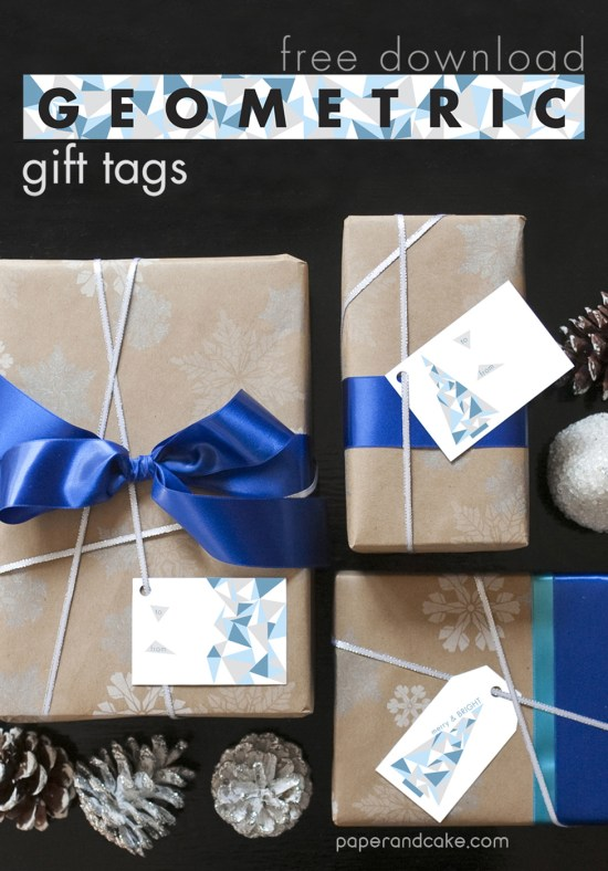 Paper & Cake free printable Geometric Holiday Gift Tags