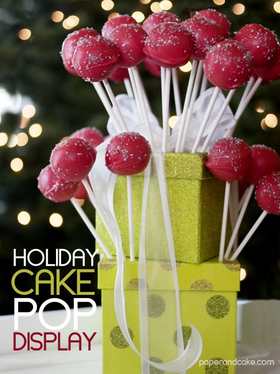 paper and cake holiday cake pop display