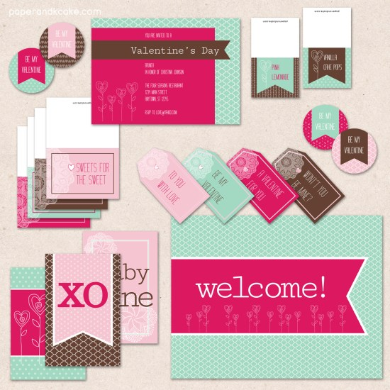 Hugs and Kisses Valentine's Day PRINTABLE Party Collection - You Customize EDITABLE TEXT Instant Download