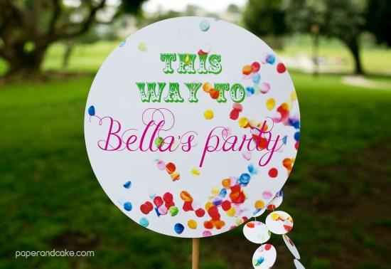 confetti birthday party decorations wayfinding