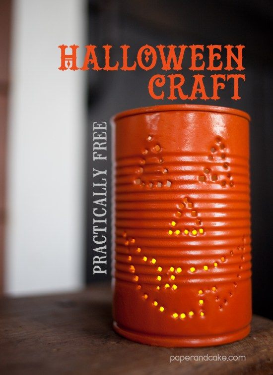 halloween craft decorations punched can