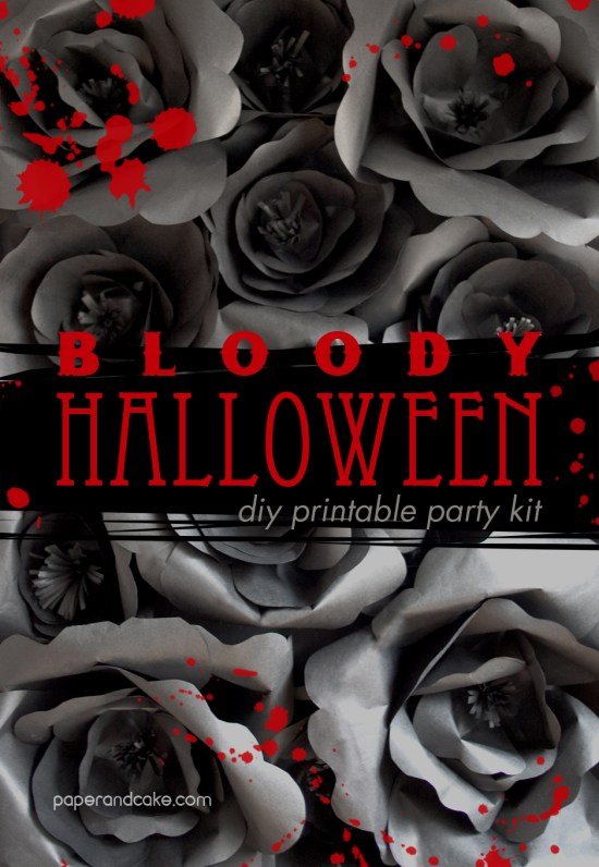 bloody halloween decorations by paper and cake