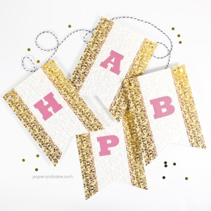 Pink and Gold Sparkle Happy Birthday Pennant Banner