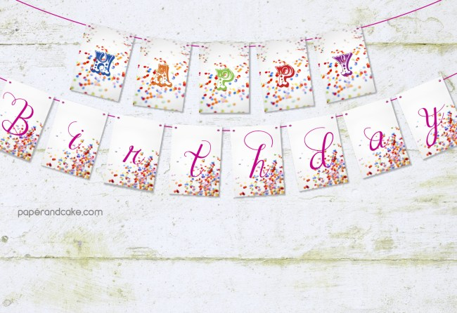 confetti happy birthday pennant banner