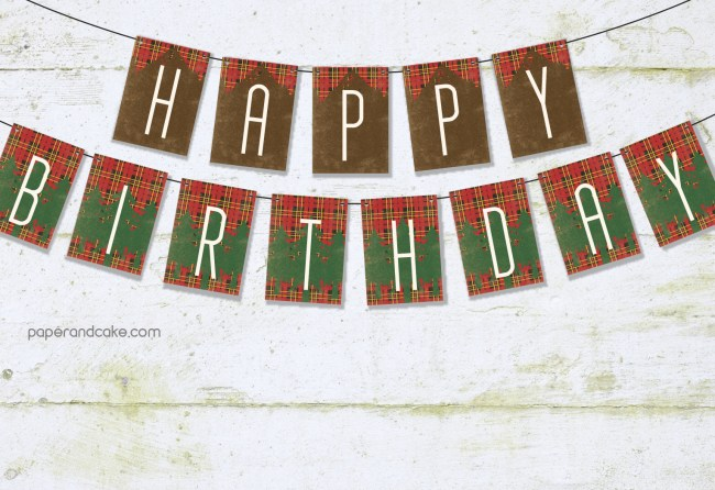 outdoorsman happy birthday pennant banner