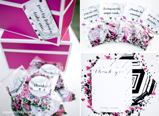 marbled paper birthday party decorations