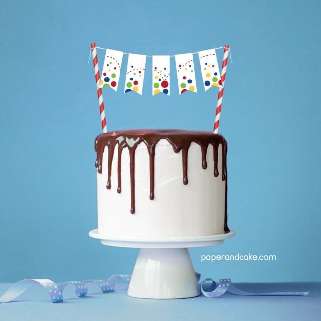 Bouncy Ball Mini-Bunting Cake Topper