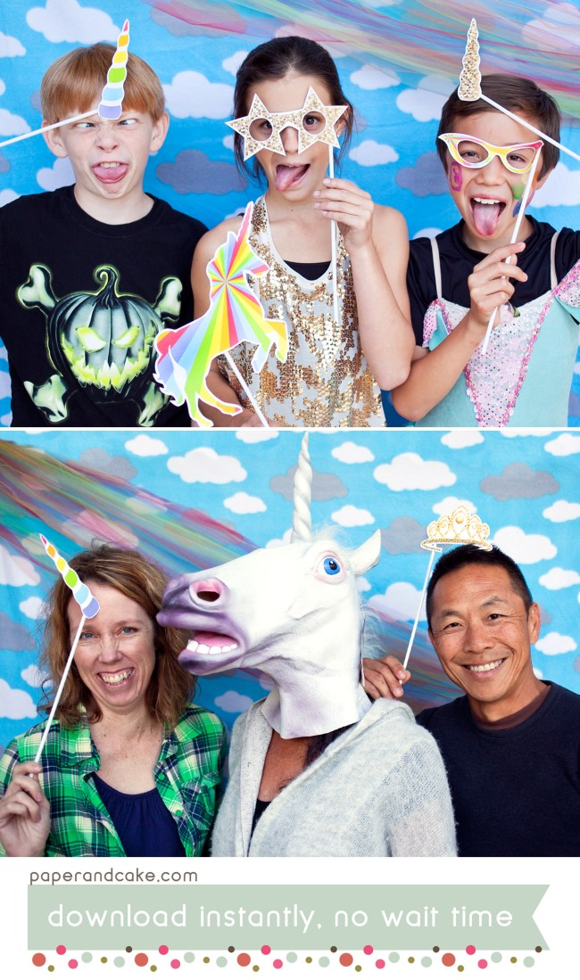 rainbow unicorn photo props