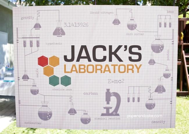 Science birthday backdrop banner