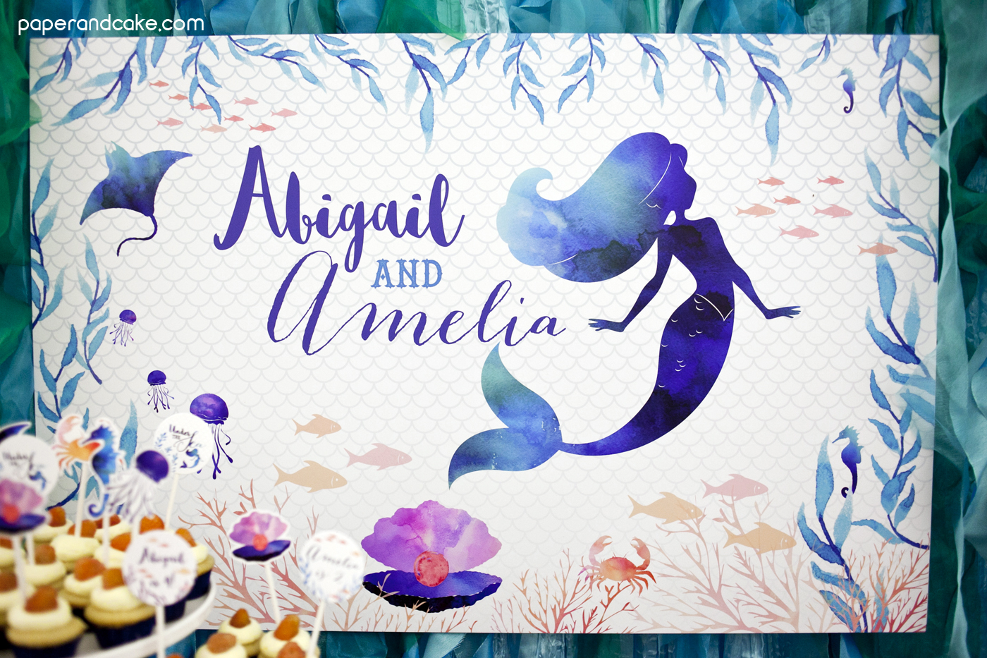 Mermaid Under The Sea Birthday Backdrop Banner Paper And
