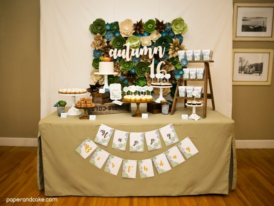 Succulent themed Birthday Party