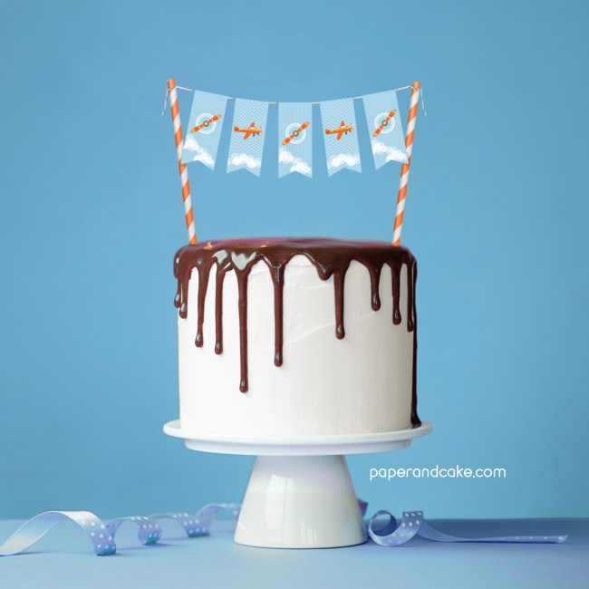 Airplane Mini-Bunting Cake Topper