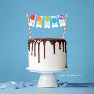 Balloon Rainbow Mini-Bunting Cake Topper