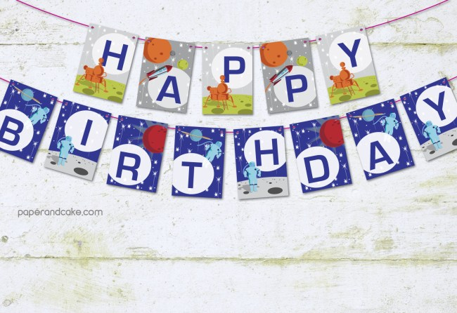 Space Happy Birthday Pennant Banner