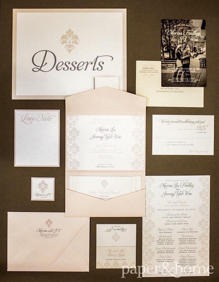 Damask Wedding Invitation Set