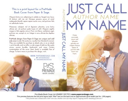 Print layout for Pre-Made Book Cover ID#0811201701 (Just Call My Name)