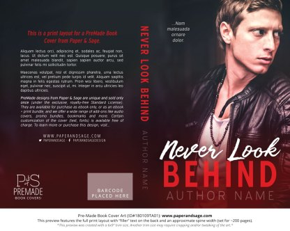 Print layout for Pre-Made Book Cover ID#180109TA01 (Never Look Behind)