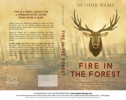 Print layout for Pre-Made Book Cover ID#180205TA02 (Fire in the Forest)