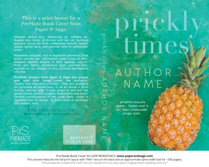Print layout for Pre-Made Book Cover ID#180304TA01 (Prickly Times)