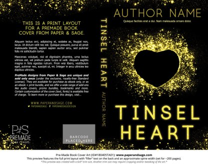 Print layout for Pre-Made Book Cover ID#180405TA01 (Tinsel Heart)