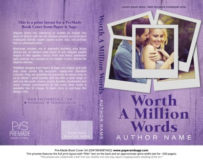 Print layout for Pre-Made Book Cover ID#180408TA02 (Worth a Million Words)