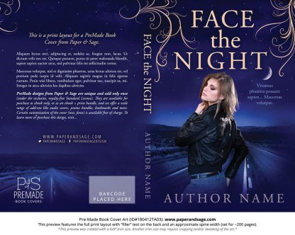 Print layout for Pre-Made Book Cover ID#180412TA03 (Face the Night)