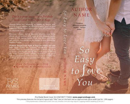 Print layout for Pre-Made Book Cover ID#180711TA02 (So Easy to Love You)