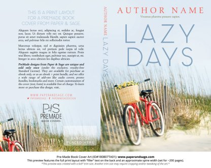 Print layout for Pre-Made Book Cover ID#180807TA01 (Lazy Days)