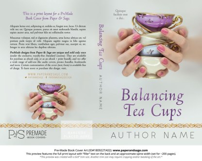 Print Layout for Pre-Made Book Cover ID#180921TA01 (Balancing Tea Cups)