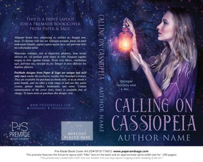 Print layout for Pre-Made Book Cover ID#181011TA01 (Calling on Cassiopeia)