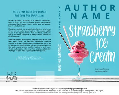 Print layout for Pre-Made Book Cover ID#181103TA01 (Strawberry Ice Cream)