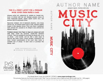 Print layout for Pre-Made Book Cover ID#181110TA01 (Music City)