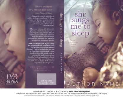 Print layout for Pre-Made Book Cover ID#181116TA01 (She Sings me to Sleep)