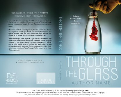 Print Layout for Pre-Made Book Cover ID#190105TA01 (Through the Glass)