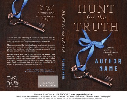 Print layout for Pre-Made Book Cover ID#190404TA01 (Hunt for the Truth)