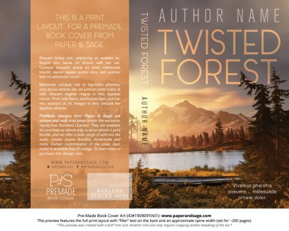 Pre-Made Book Cover ID#190909TA01 (Twisted Forest)
