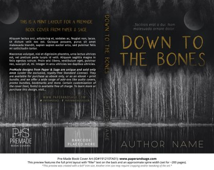 Pre-Made Book Cover ID#191210TA01 (Down to the Bones)