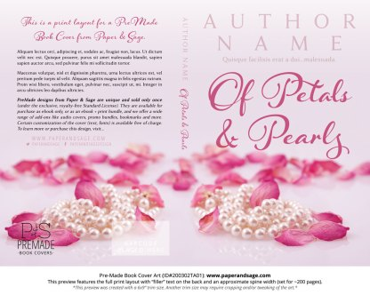Pre-Made Book Cover ID#200302TA01 (Of Petals and Pearls)