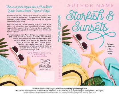 Pre-Made Book Cover ID#200604TA01 (Starfish & Sunsets)