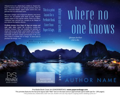 Pre-Made Book Cover ID#200908TA01 (Where No One Knows)