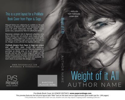 Pre-Made Book Cover ID#201202TA01 (Weight of it All)