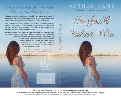 Pre-Made Book Cover ID#210107TA01 (So You'll Believe Me)