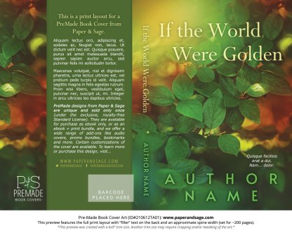 PreMade Book Cover ID#210612TA01 (If the World Were Golden)