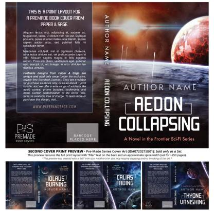 PreMade Series Covers ID#072021SB01 (Frontier Sci-Fi Series, Only Sold as a Set)