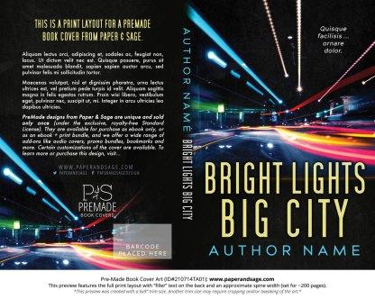 PreMade Book Cover ID#210714TA01 (Bright Lights Big City)