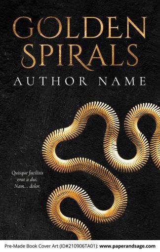 PreMade Book Cover ID#210906TA01 (Golden Spirals)